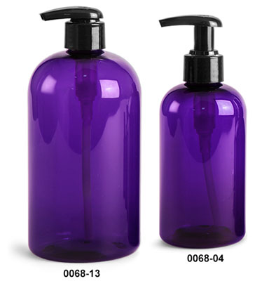 Plastic Bottles, Purple PET Boston Round Bottles w/ Black 2cc Lotion Pumps