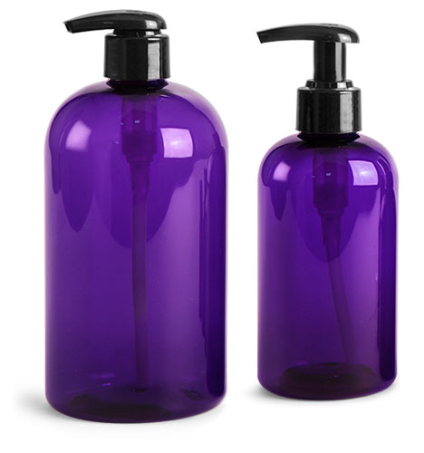 PET Plastic Bottles, Purple Boston Round Bottles w/ Black 2 cc Lotion Pumps