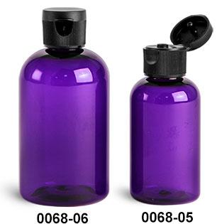 Plastic Bottles, Purple PET Boston Round Bottles w/ Black Ribbed Snap Top Caps