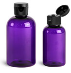 PET Plastic Bottles, Purple Boston Round Bottles w/ Black Ribbed Snap Top Caps