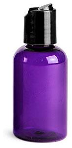 2 oz Purple PET Round Bottles w/ Black Disc Top Caps