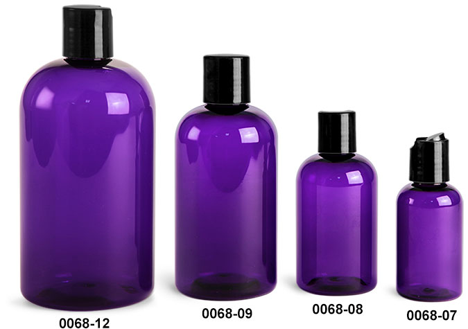 Plastic Bottles, Purple PET Boston Round Bottles w/ Black Disc Top Caps