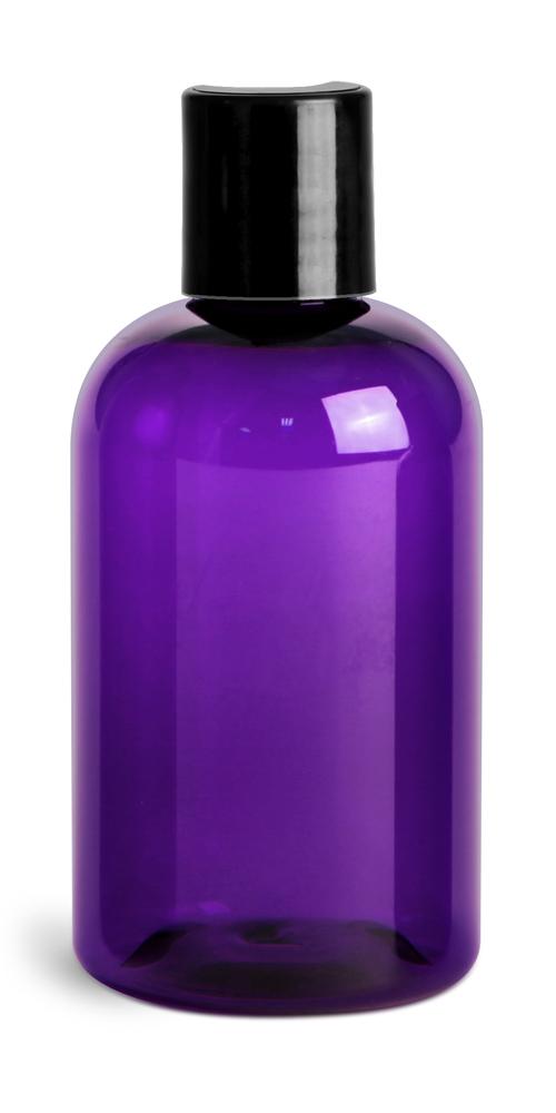 4 oz Purple PET Round Bottles w/ Black Disc Top Caps