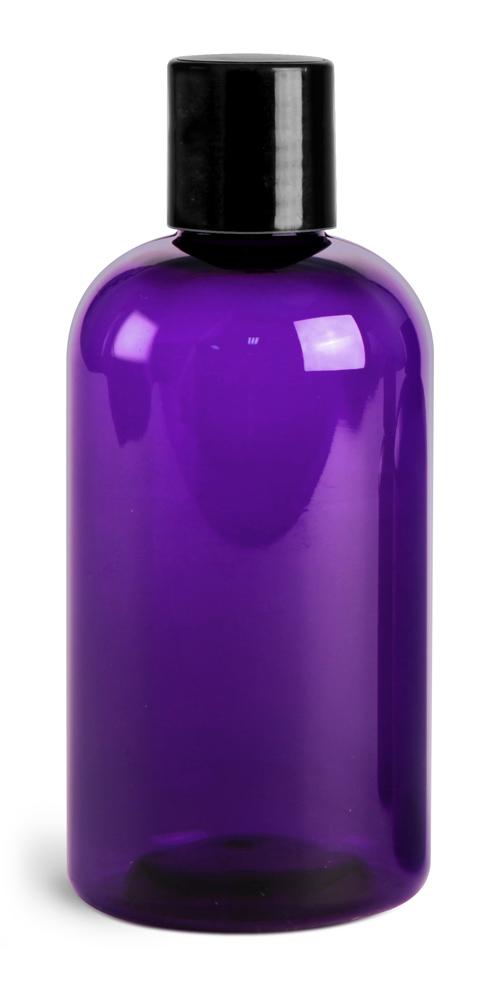 8 oz Purple PET Round Bottles w/ Black Disc Top Caps