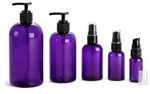 Purple PET Round Bottles w/ Black Treatment Pumps