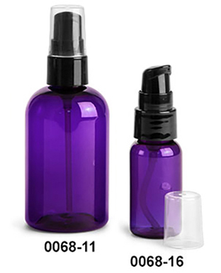 Purple PET Round Bottles w/ Black Lotion Pumps