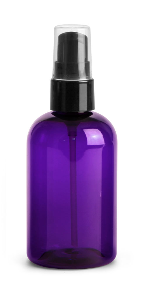 4 oz Purple PET Round Bottles w/ Black Lotion Pumps