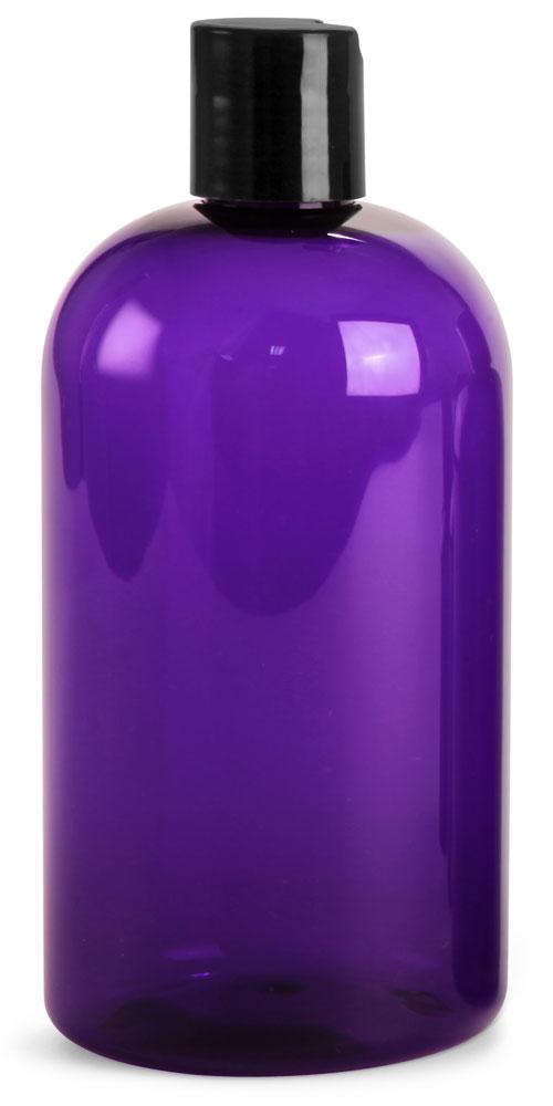 Purple PET Boston Rounds w/ Black Disc Top Caps