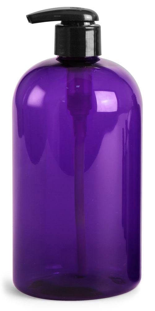 Purple PET Boston Rounds w/ Black Lotion Pumps