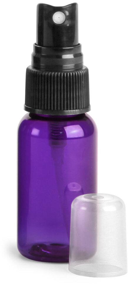 Purple PET Round Bottles w/ Black Fine Mist Sprayers