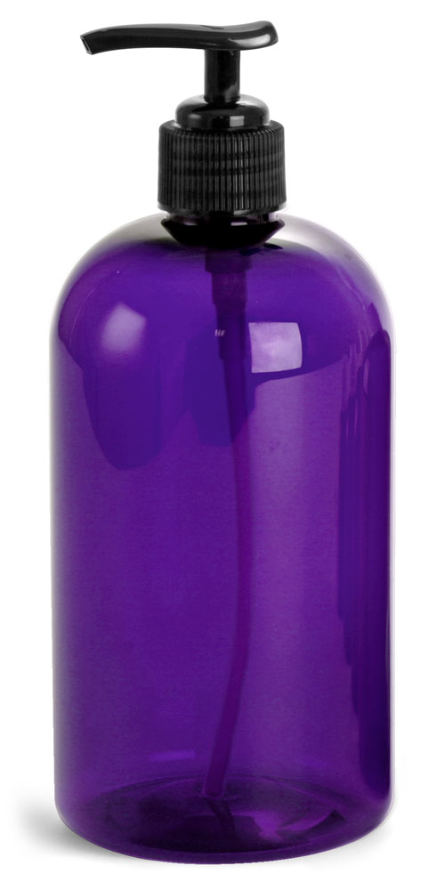 16 oz Purple PET Round Bottles w/ Black Lotion Pumps