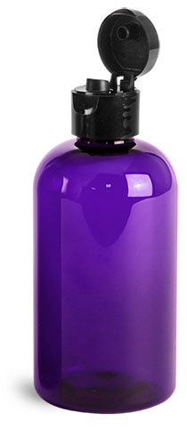 PET Plastic Bottles, Purple Boston Round Bottles w/ Black Smooth Snap Top Caps