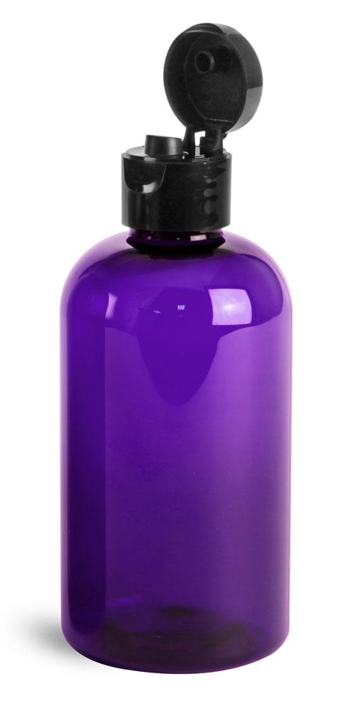 Plastic Bottles, Purple PET Boston Rounds w/ Black Smooth Snap Top Caps