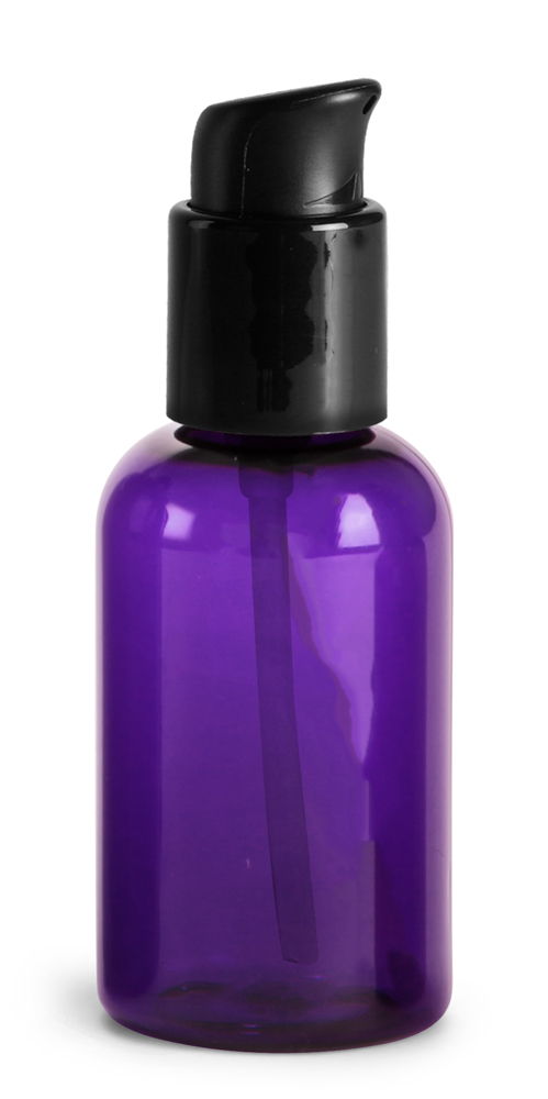 2 oz  Purple PET Round Bottles w/ Black Treatment Pumps