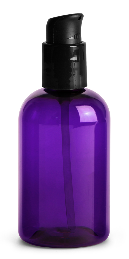 4 oz  Purple PET Round Bottles w/ Black Treatment Pumps