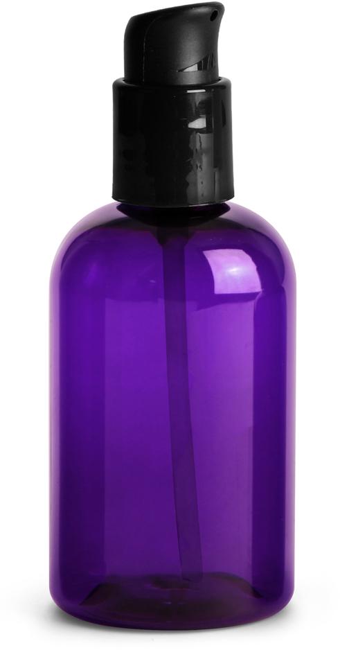 Purple PET Round Bottles w/ Black Treatment Pumps