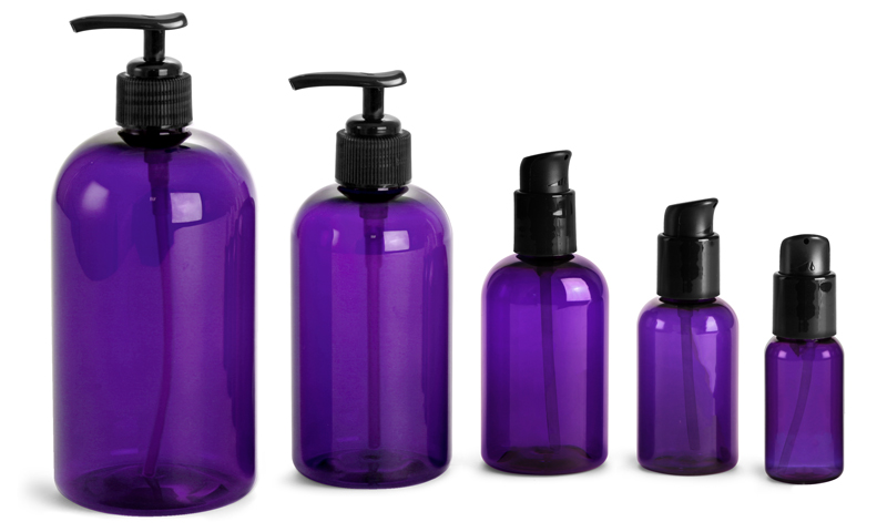 PET Plastic Bottles, Purple Boston Round Bottles w/ Black Lotion Pumps