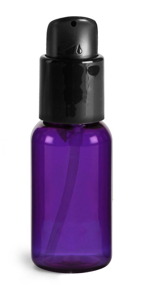 1 oz Purple PET Round Bottles w/ Black Treatment Pumps