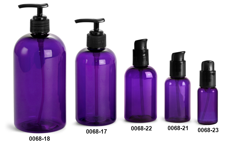 Plastic Bottles, Purple PET Round Bottles w/ Black Lotion Pumps