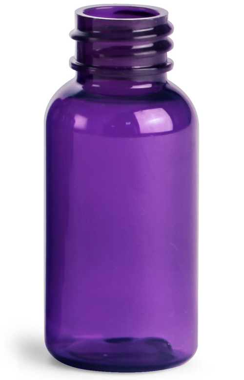 1 oz Purple PET Round Bottles (Bulk) Caps not Included
