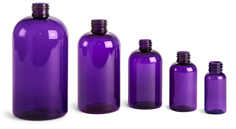 Purple PET Round Bottles (Bulk), Caps NOT Included