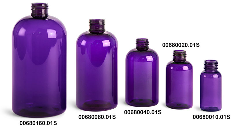 Plastic Bottles, Purple PET Round Bottles (Bulk), Caps NOT Included