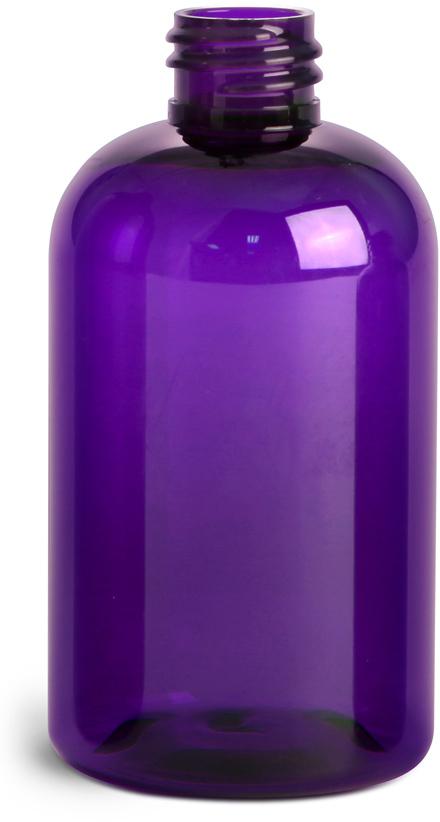 Purple PET Boston Round Bottles (Bulk), Caps NOT Included