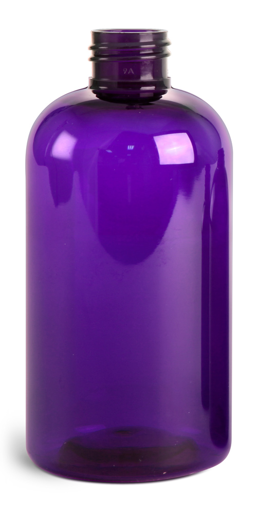 8 oz Purple PET Round Bottles (Bulk), Caps NOT Included