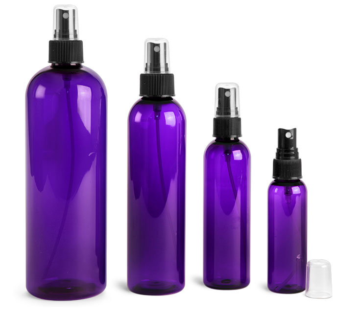 PET Plastic Bottles, Purple Cosmo Round Bottles w/ Black Fine Mist Sprayers
