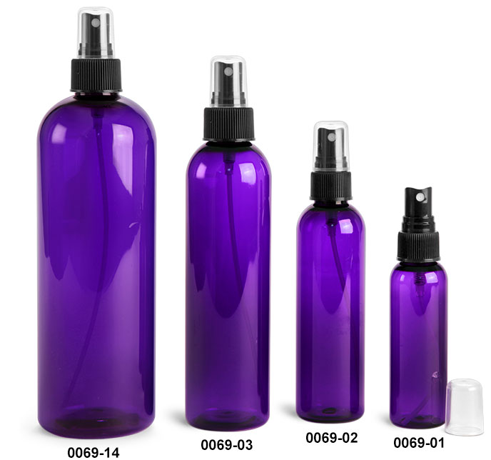 Plastic Bottles, Purple PET Cosmo Round Bottles w/ Black Fine Mist Sprayers