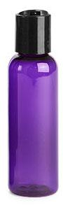 2 oz Purple PET Cosmo Round Bottles w/ Black Disc Top Caps