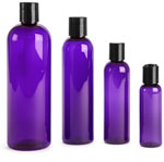 Purple PET Cosmo Round Bottles w/ Black Disc Top Caps