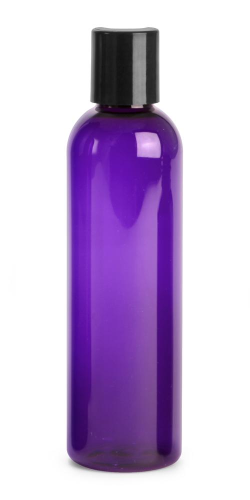 Purple PET Cosmo Round Bottles w/ Black Disc Top Caps