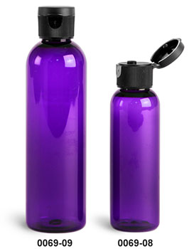 Plastic Bottles, Purple PET Cosmo Round Bottles w/ Black Ribbed Snap Top Caps