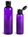 PET Plastic Bottles, Purple Cosmo Round Bottles w/ Ribbed Snap Top Caps