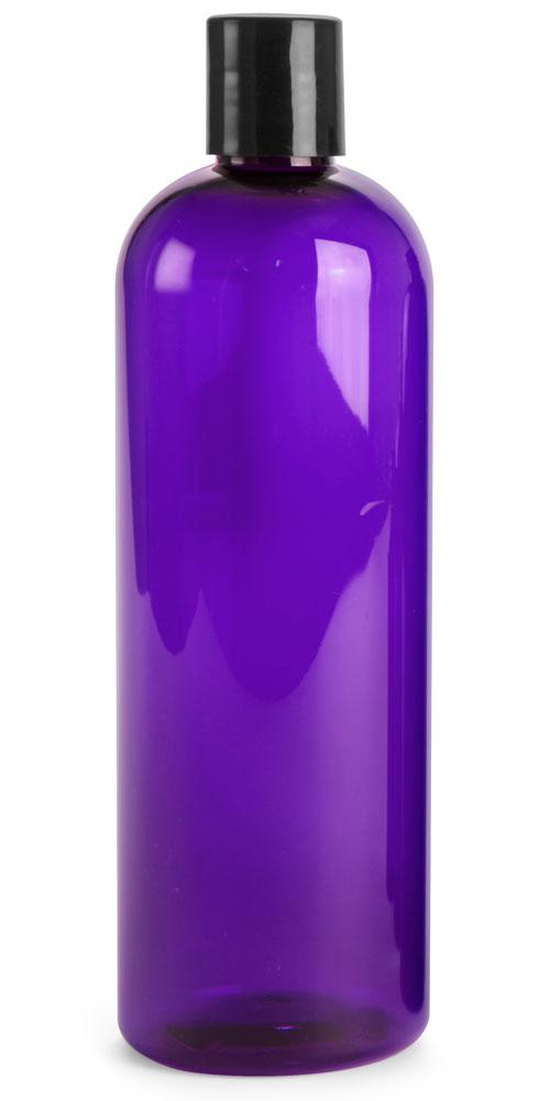 16 oz Purple PET Cosmo round bottles w/ Black Disc Top Caps