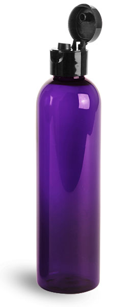 PET Plastic Bottles, Purple Cosmo Round Bottles w/ Black Smooth Snap Top Caps