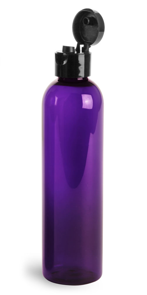 Plastic Bottles, Purple PET Cosmo Rounds w/ Black Smooth Snap Top Caps
