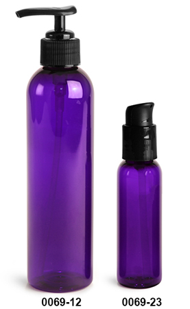 Plastic Bottles, Purple PET Cosmo Round Bottles w/ Black Lotion Pumps