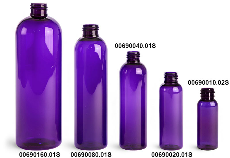 Plastic Bottles, Purple PET Cosmo Round Bottles (Bulk), Caps NOT Included