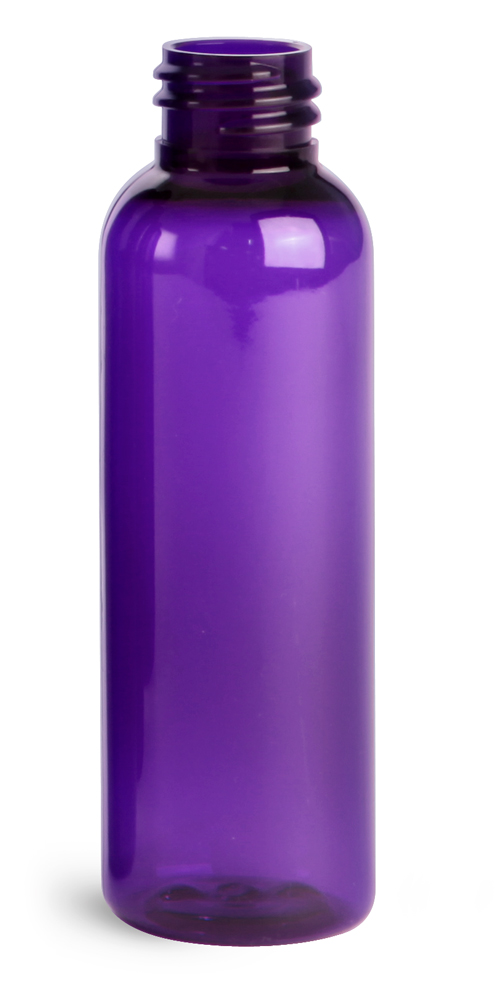 2 oz Purple PET Cosmo Round Bottles (Bulk), Caps NOT Included