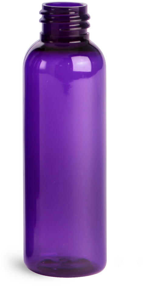 Purple PET Cosmo Round Bottles (Bulk), Caps NOT Included