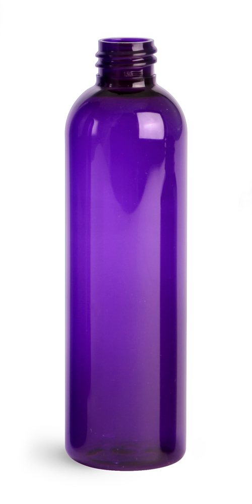 4 oz Purple PET Cosmo Round Bottles (Bulk), Caps NOT Included