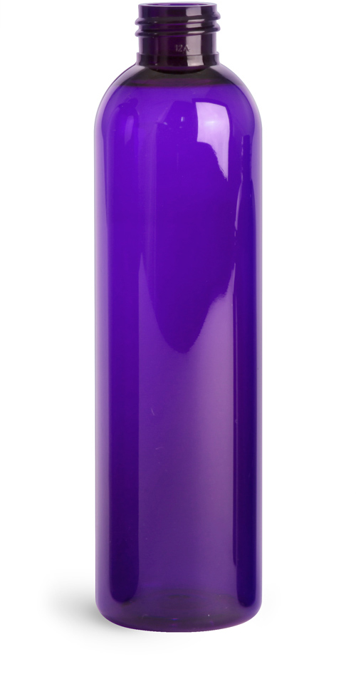 8 oz Purple PET Cosmo Round Bottles (Bulk), Caps NOT Included