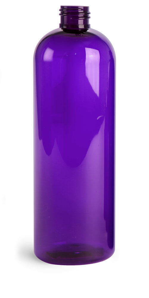 16 oz Purple PET Cosmo Rounds Bottles (Bulk)