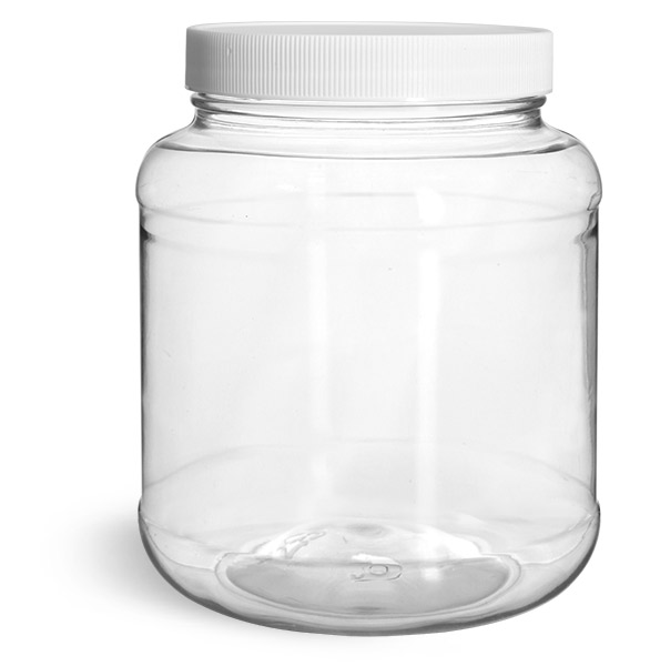 Plastic Jars, 58 oz Clear PET Round Squat Jar w/ White Polypropylene Ribbed Closure