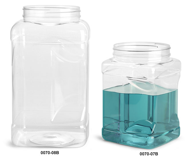Plastic Tubs, Clear PET Square Gripped Wide Mouth Jars (Bulk) Caps Not Included