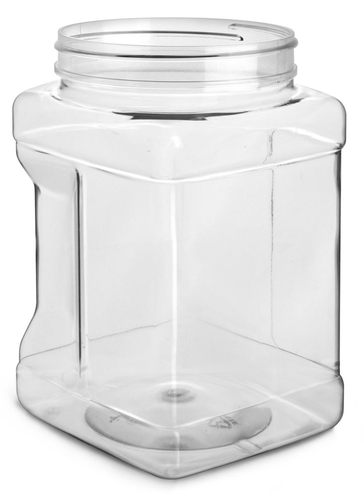 1/2 gal Clear PET Square Gripped Wide Mouth Jars (Bulk) Caps Not Included