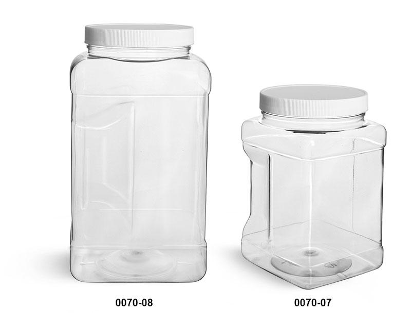 Plastic Jars, Clear PET Square Gripped Wide Mouth Jars w/ White PE Lined Caps