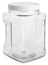 1/2 gal1/2 gal Clear PET Square Gripped Wide Mouth Jars w/ White PE Lined Caps